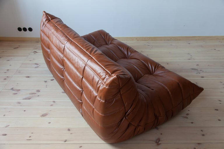 Togo 3-Seat Sofa in Whiskey Leather by Michel Ducaroy for Ligne Roset For Sale 3