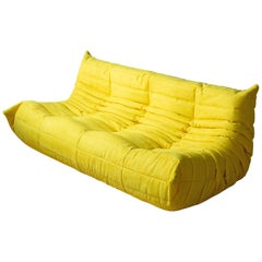 Togo 3-Seat Sofa in Yellow Microfibre by Michel Ducaroy for Ligne Roset