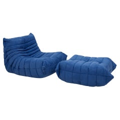 Togo Blue Armchair and Footstool by Michel Ducaroy for Ligne Roset, Set of 2