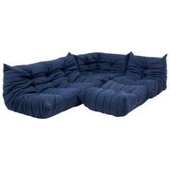 Togo Blue Modular Sofa and Footstool by Michel Ducaroy for Ligne Roset, Set of 4