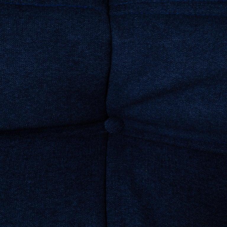 Togo Blue Modular Sofa and Footstool by Michel Ducaroy for Ligne Roset, Set of 5 4
