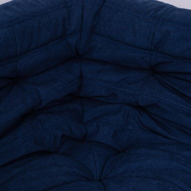 Togo Blue Modular Sofa and Footstool by Michel Ducaroy for Ligne Roset, Set of 5 5
