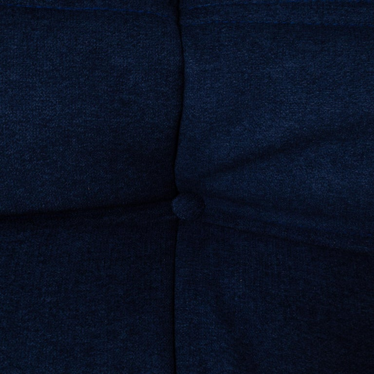 Togo Blue Modular Sofa and Footstool by Michel Ducaroy for Ligne Roset, Set of 5 6