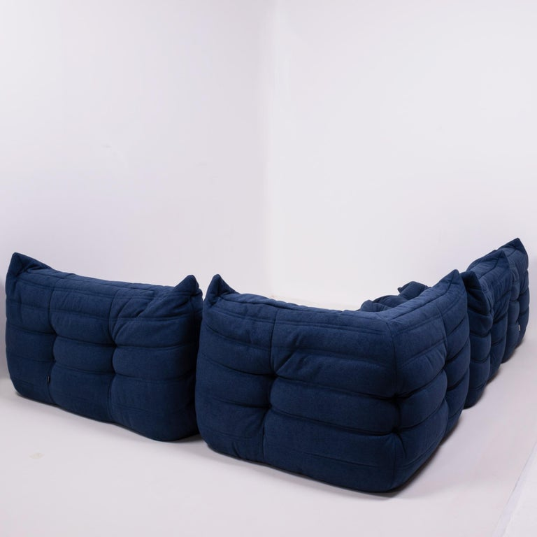 French Togo Blue Modular Sofa and Footstool by Michel Ducaroy for Ligne Roset, Set of 5