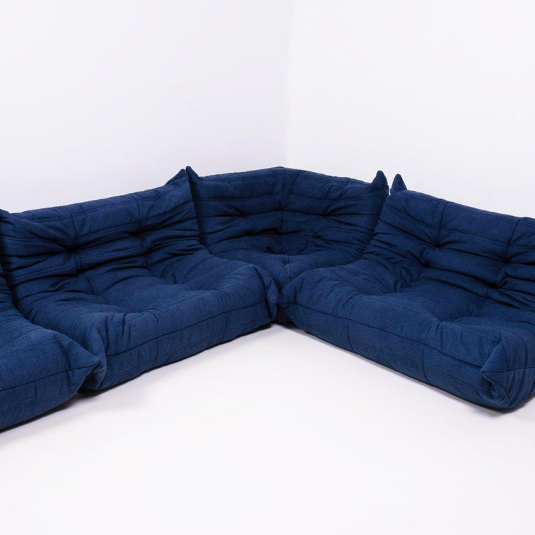 Togo Blue Modular Sofa and Footstool by Michel Ducaroy for Ligne Roset, Set of 5 In Excellent Condition In London, GB