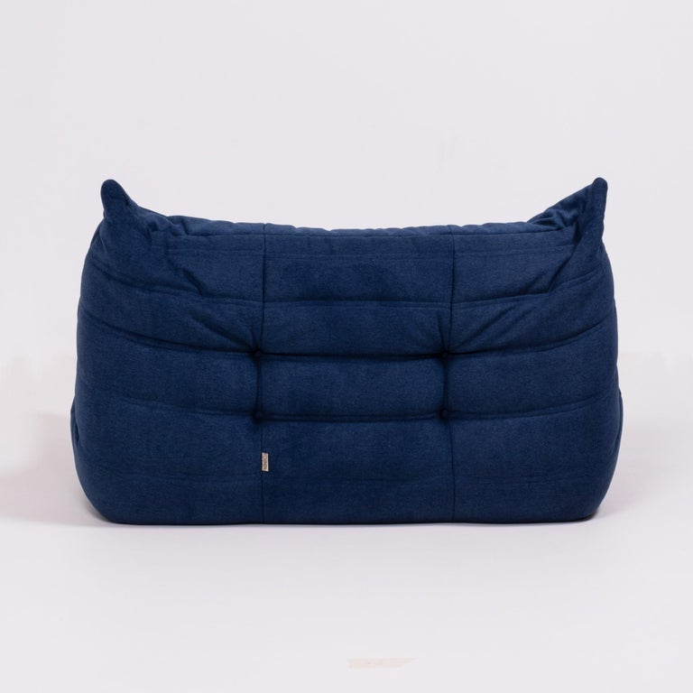Late 20th Century Togo Blue Modular Sofa and Footstool by Michel Ducaroy for Ligne Roset, Set of 5