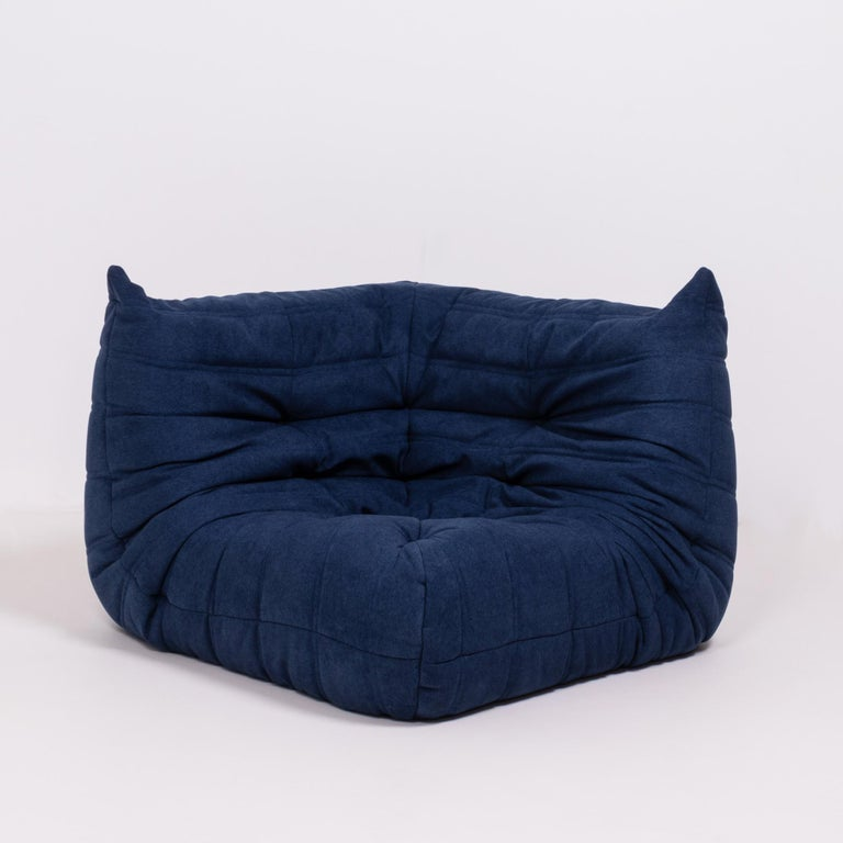 Fabric Togo Blue Modular Sofa and Footstool by Michel Ducaroy for Ligne Roset, Set of 5
