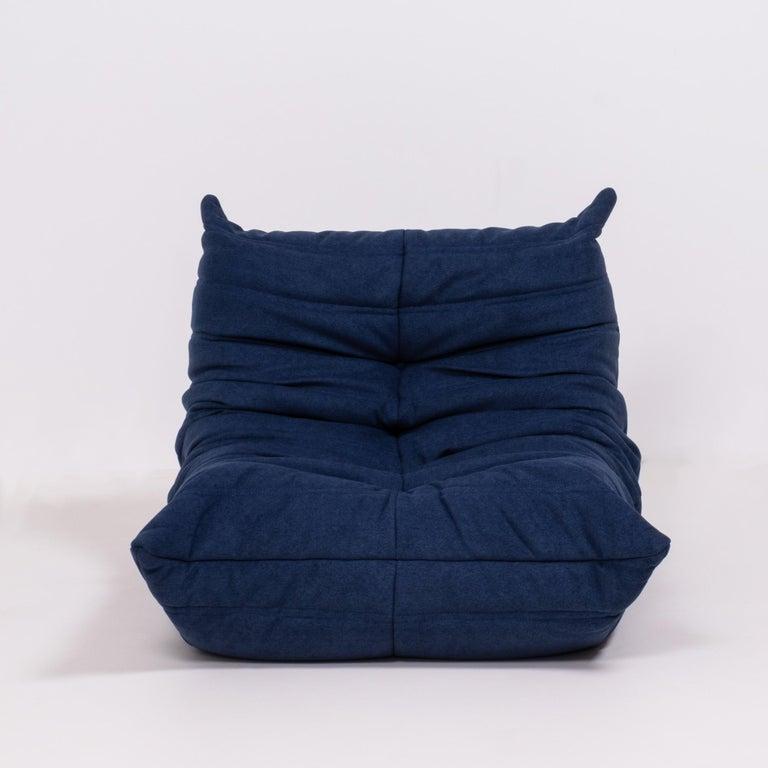 Togo Blue Modular Sofa and Footstool by Michel Ducaroy for Ligne Roset, Set of 5 1