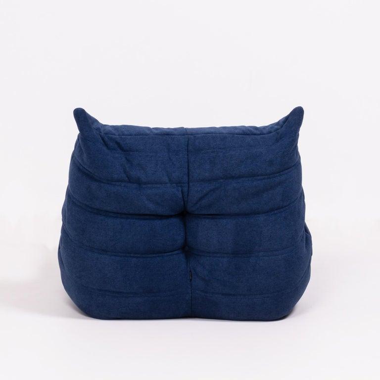 Togo Blue Modular Sofa and Footstool by Michel Ducaroy for Ligne Roset, Set of 5 2