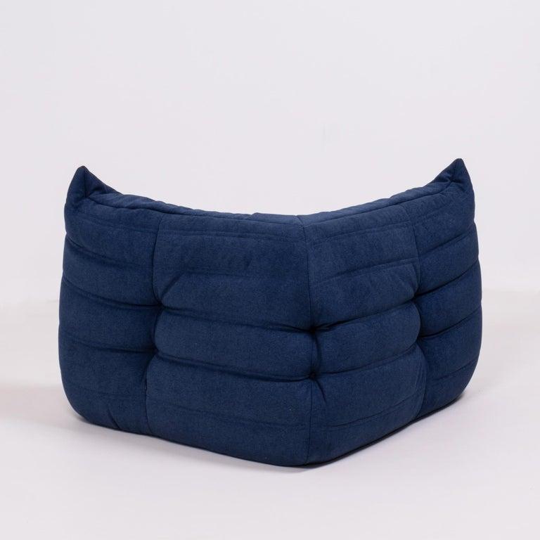 Togo Blue Modular Sofa and Footstool by Michel Ducaroy for Ligne Roset, Set of 5 3