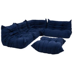 Togo Blue Modular Sofa and Footstool by Michel Ducaroy for Ligne Roset, Set of 5