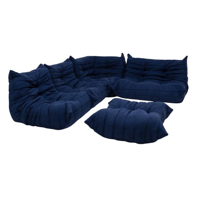 Togo Blue Modular Sofa and Footstool by Michel Ducaroy for Ligne Roset, Set of 5