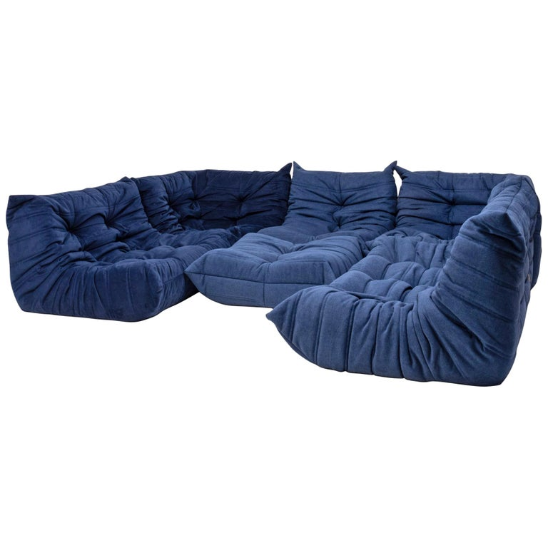 Togo Blue Modular Sofa And Footstool By Michel Ducaroy For