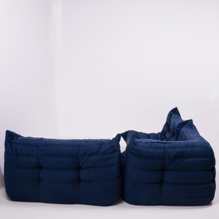 French Togo Blue Modular Sofa by Michel Ducaroy for Ligne Roset, Set of 3