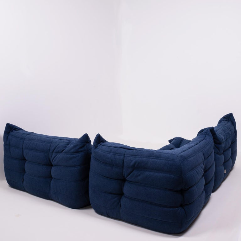 Togo Blue Modular Sofa by Michel Ducaroy for Ligne Roset, Set of 3 In Excellent Condition In London, GB