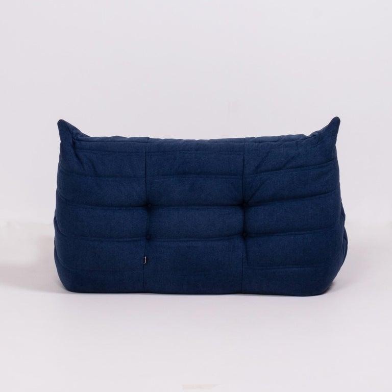 Fabric Togo Blue Modular Sofa by Michel Ducaroy for Ligne Roset, Set of 3