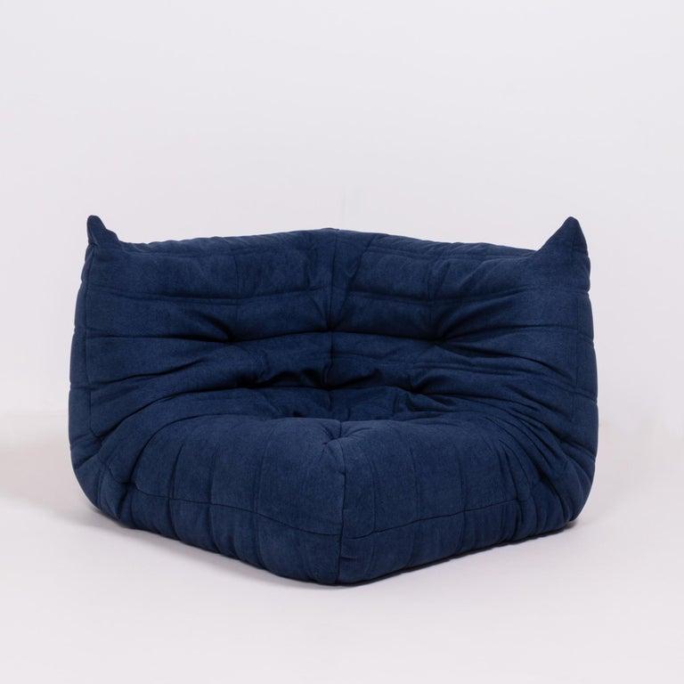Togo Blue Modular Sofa by Michel Ducaroy for Ligne Roset, Set of 3 1