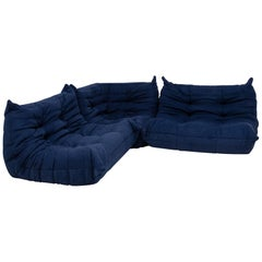 Togo Blue Modular Sofa by Michel Ducaroy for Ligne Roset, Set of 3