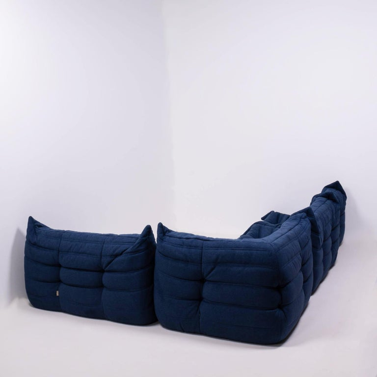 French Togo Blue Modular Sofa by Michel Ducaroy for Ligne Roset, Set of 4
