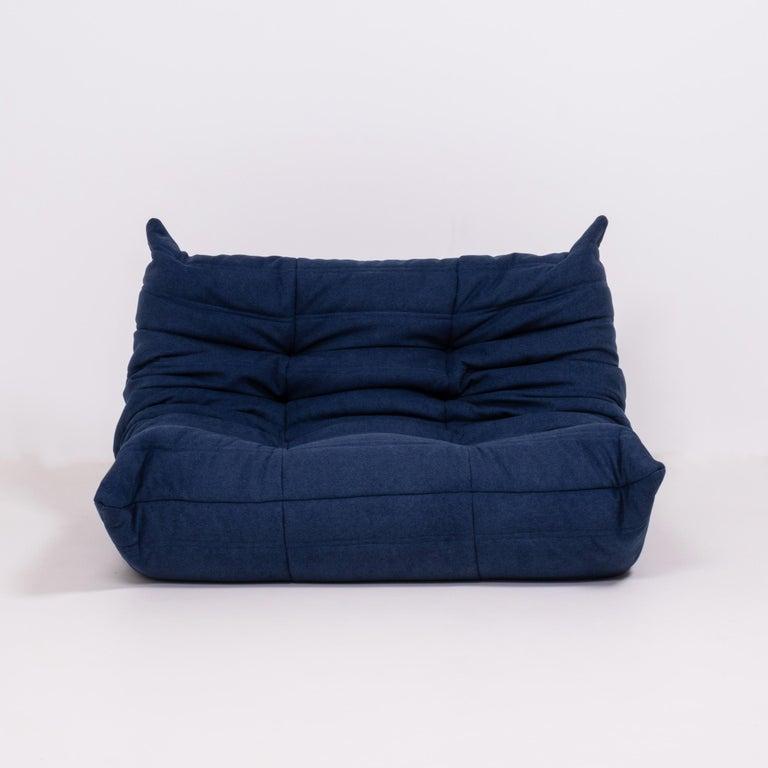 Fabric Togo Blue Modular Sofa by Michel Ducaroy for Ligne Roset, Set of 4