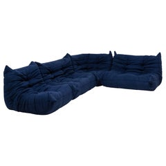 Togo Blue Modular Sofa by Michel Ducaroy for Ligne Roset, Set of 4