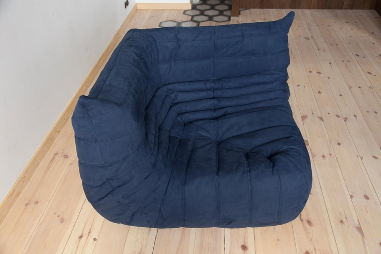 Togo Corner Couch in Dark Blue Microfibre by Michel Ducaroy by Ligne Roset For Sale 3