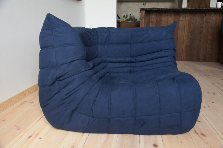 Togo Corner Couch in Dark Blue Microfibre by Michel Ducaroy by Ligne Roset For Sale 4