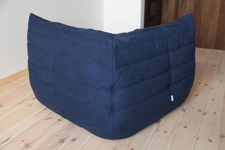 Late 20th Century Togo Corner Couch in Dark Blue Microfibre by Michel Ducaroy by Ligne Roset For Sale