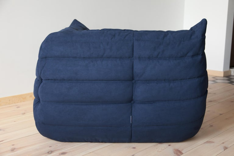 Fabric Togo Corner Couch in Dark Blue Microfibre by Michel Ducaroy by Ligne Roset For Sale