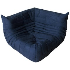 Togo Corner Couch in Dark Blue Microfibre by Michel Ducaroy by Ligne Roset