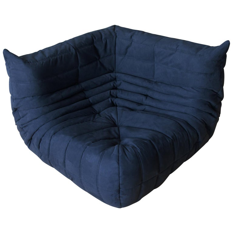Togo Corner Couch in Dark Blue Microfibre by Michel Ducaroy by Ligne Roset For Sale