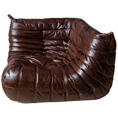 Togo Corner Couch in Dubai Brown Leather by Michel Ducaroy by Ligne Roset