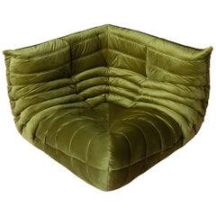 Togo Corner Couch in Green Velvet by Michel Ducaroy for Ligne Roset, 1979
