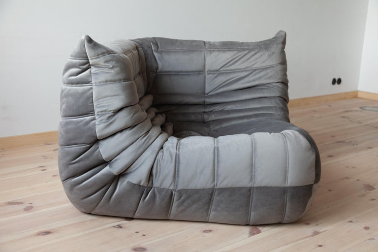 Togo Corner Couch in Grey Velvet by Michel Ducaroy for Ligne Roset For Sale 4