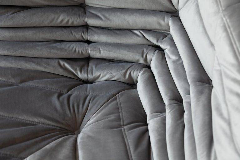 Togo Corner Couch in Grey Velvet by Michel Ducaroy for Ligne Roset For Sale 5