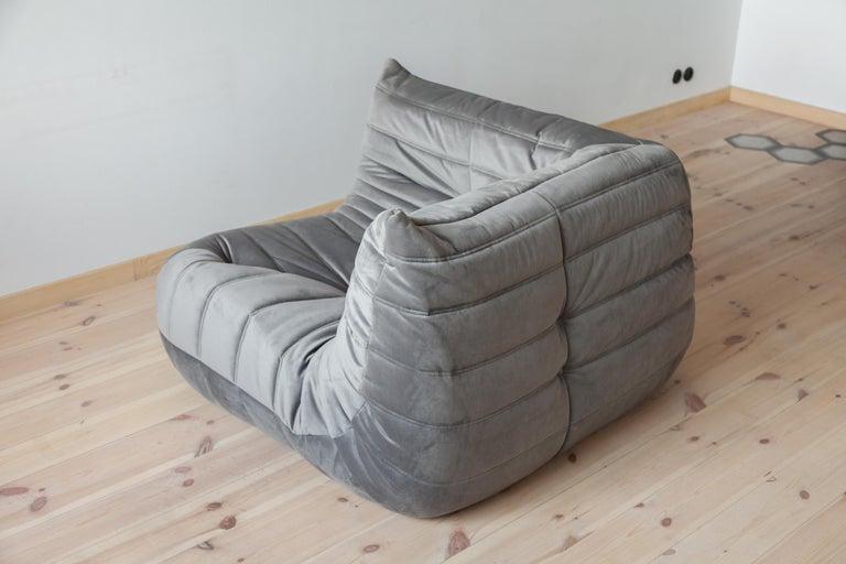 Mid-Century Modern Togo Corner Couch in Grey Velvet by Michel Ducaroy for Ligne Roset For Sale