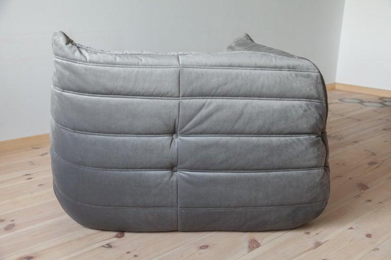French Togo Corner Couch in Grey Velvet by Michel Ducaroy for Ligne Roset For Sale