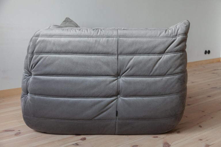 Togo Corner Couch in Grey Velvet by Michel Ducaroy for Ligne Roset For Sale 1
