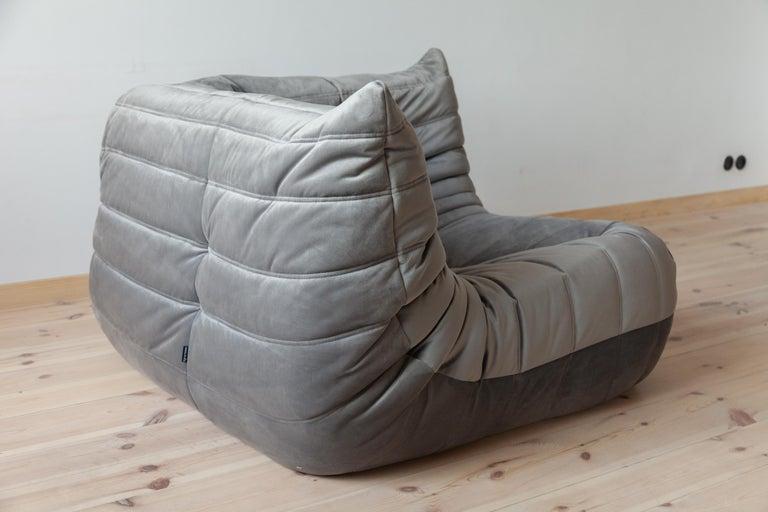 Togo Corner Couch in Grey Velvet by Michel Ducaroy for Ligne Roset For Sale 2