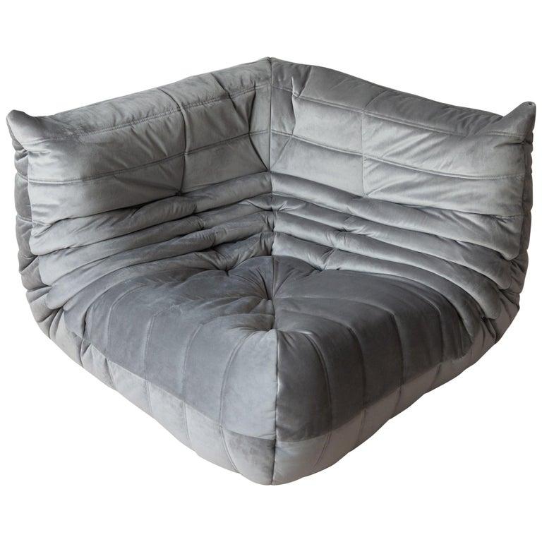 Togo Corner Couch in Grey Velvet by Michel Ducaroy for Ligne Roset For Sale