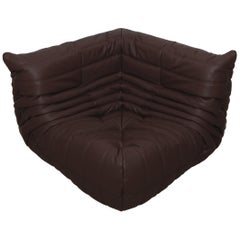 Togo Corner Couch in Madras Brown Leather by Michel Ducaroy by Ligne Roset