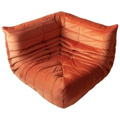 Togo Corner Couch in Orange Velvet by Michel Ducaroy for Ligne Roset, 1979