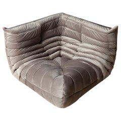 Togo Corner Couch in Pink-Grey Velvet by Michel Ducaroy for Ligne Roset