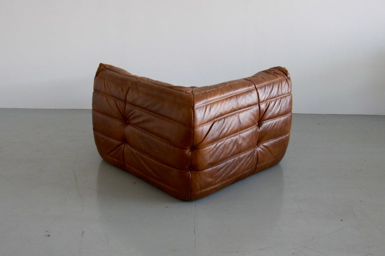 Togo Corner Couch In Whiskey Leather By Michel Ducaroy By