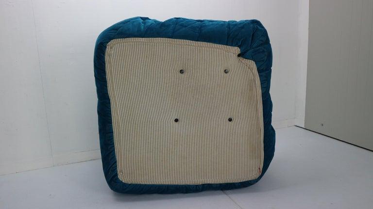 Togo Corner Lounge Chair by Michel Ducaroy for Ligne Roset in Blue Velvet, 1973 For Sale 13