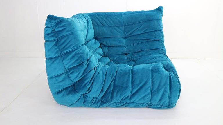 Fabric Togo Corner Lounge Chair by Michel Ducaroy for Ligne Roset in Blue Velvet, 1973 For Sale