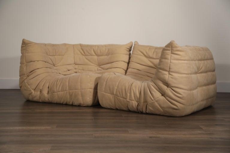 Togo Corner Seat by Michel Ducaroy for Ligne Roset in Beige Alcantara Ultrasuede For Sale 4