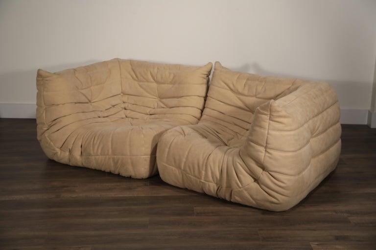 Togo Corner Seat by Michel Ducaroy for Ligne Roset in Beige Alcantara Ultrasuede For Sale 5