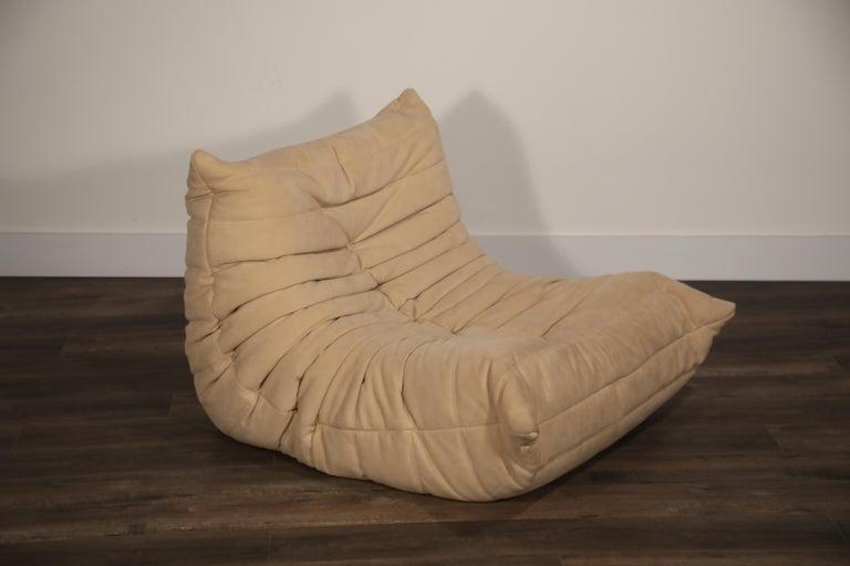 Togo Corner Seat by Michel Ducaroy for Ligne Roset in Beige Alcantara Ultrasuede For Sale 7