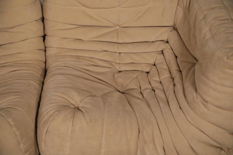 Togo Corner Seat by Michel Ducaroy for Ligne Roset in Beige Alcantara Ultrasuede For Sale 8